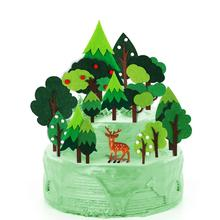 Woodland Cake Topper - Green trees Deer christmas tree CupCake for Decoration, Baby Shower, Birthday Party Supplies