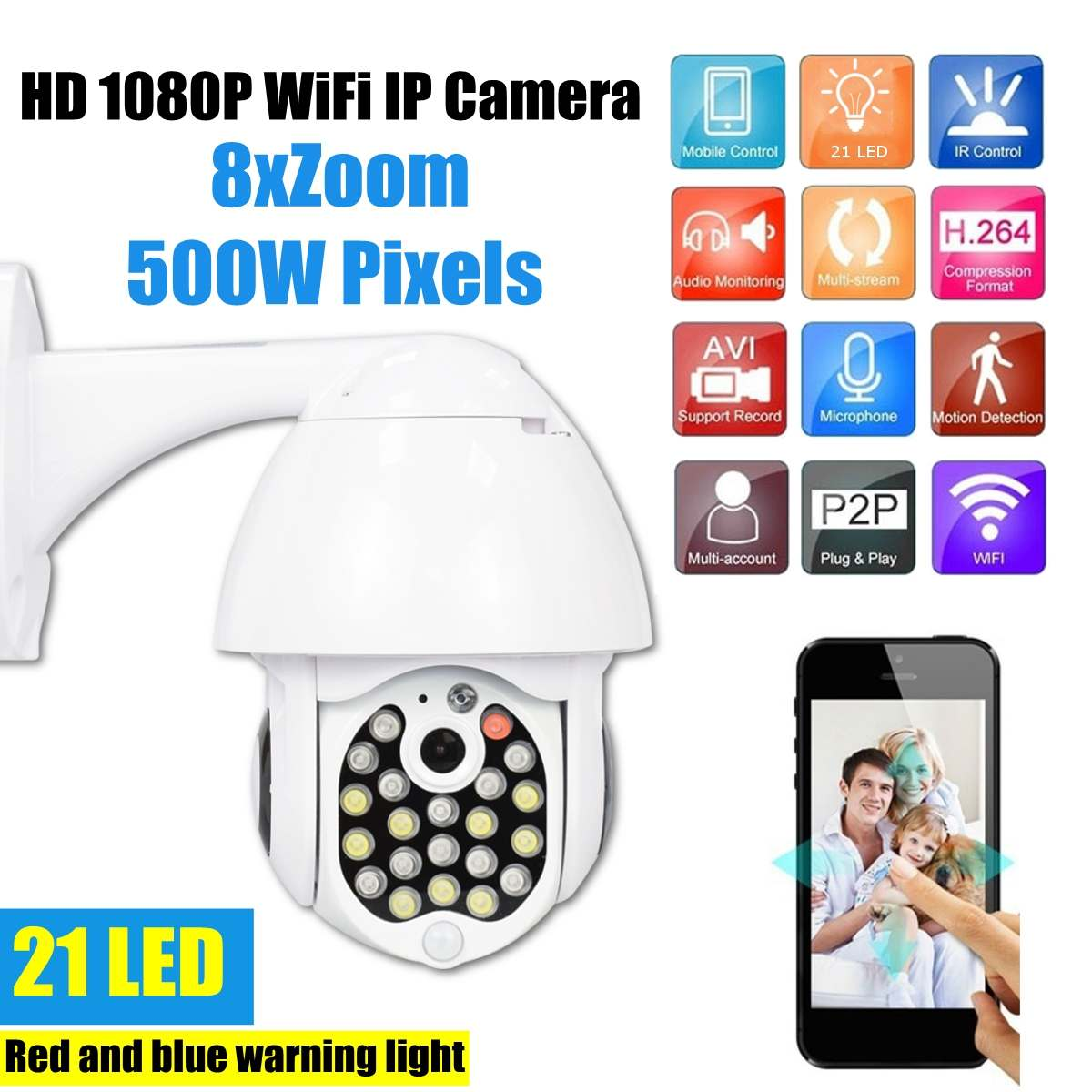 5.0MP HD 1080P Wifi 21 LED IP Camera Outdoor Security Speed Dome Camera IR 30M CCTV Surveillance Cameras 8X Digital Zoom
