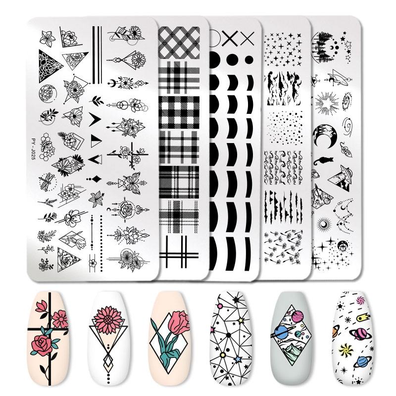 PICT YOU Flower Leaves Image Stamping Plates Plants Lavender Flower Striped Line French Nail Art Plate Stencil Stainless Steel