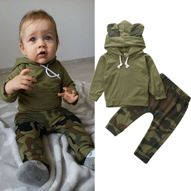 US Newborn Toddler Baby Boys 2pcs Clothes Camouflage Tops Long Pants Kids Outfit
