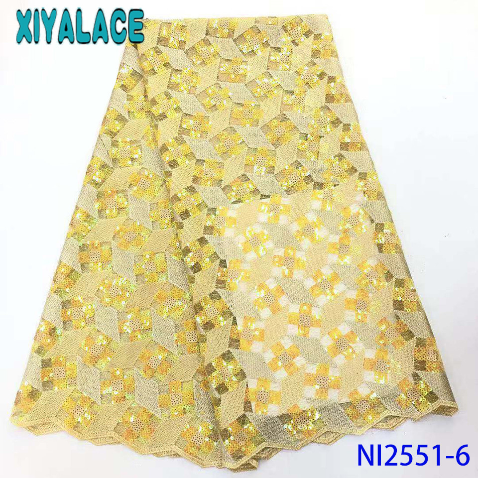 African Lace Fabric High Quality Organza Lace Hot Sale Double Net Lace With Sequins For Women Dresses Yellow Laces KSNI2551
