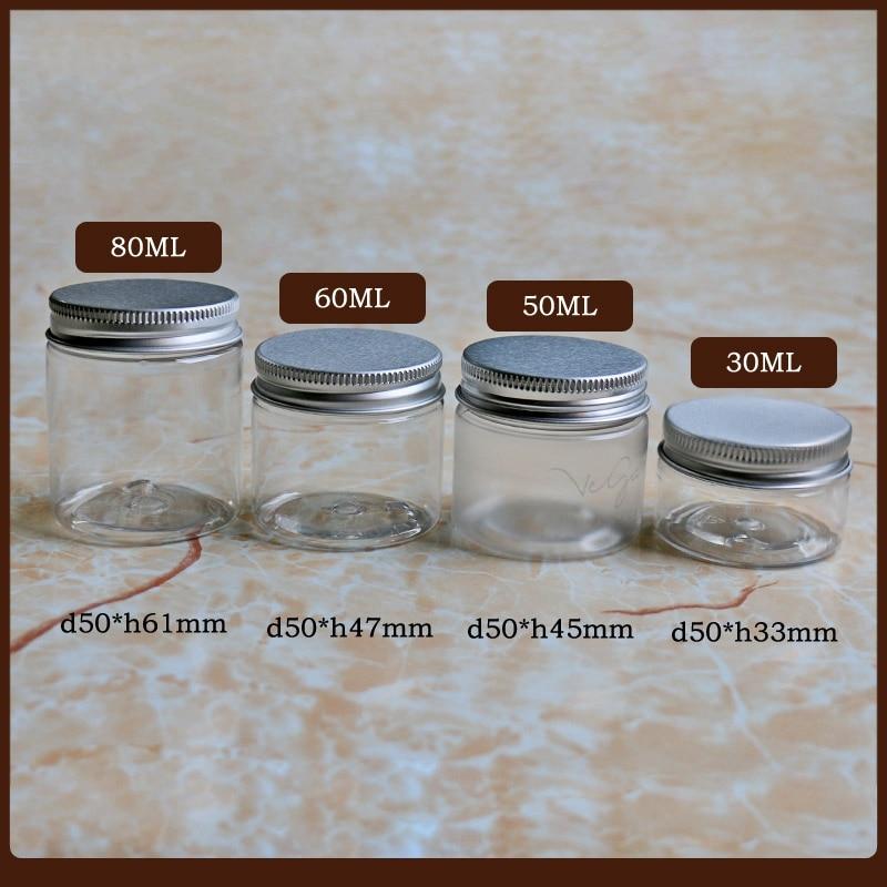 50pc/lot 30g 50g 60g 80g Clear Plastic Cosmetic Jar Serum Bottle Aluminum Cap Cream Container Refillable Bottle Wholesale