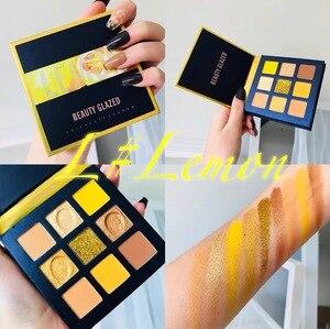 Image 4 - Schönheit Glasierte Make Up Lidschatten Pallete make up pinsel 9 Farbe Schimmer Pigmentierte Lidschatten Palette Make up Palette maquillage