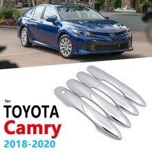 Chrome alças capa guarnição para toyota camry daihatsu altis xv70 70 2018 2019 2020 acessórios do carro adesivos de estilo automático alça
