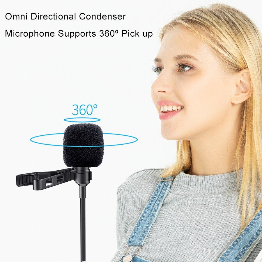 lowest price MAMEN Microphone 8m Clip-on Lavalier Mini Audio 3 5mm Collar Condenser Lapel Mic for Recording Canon   iPhone DSLR Cameras