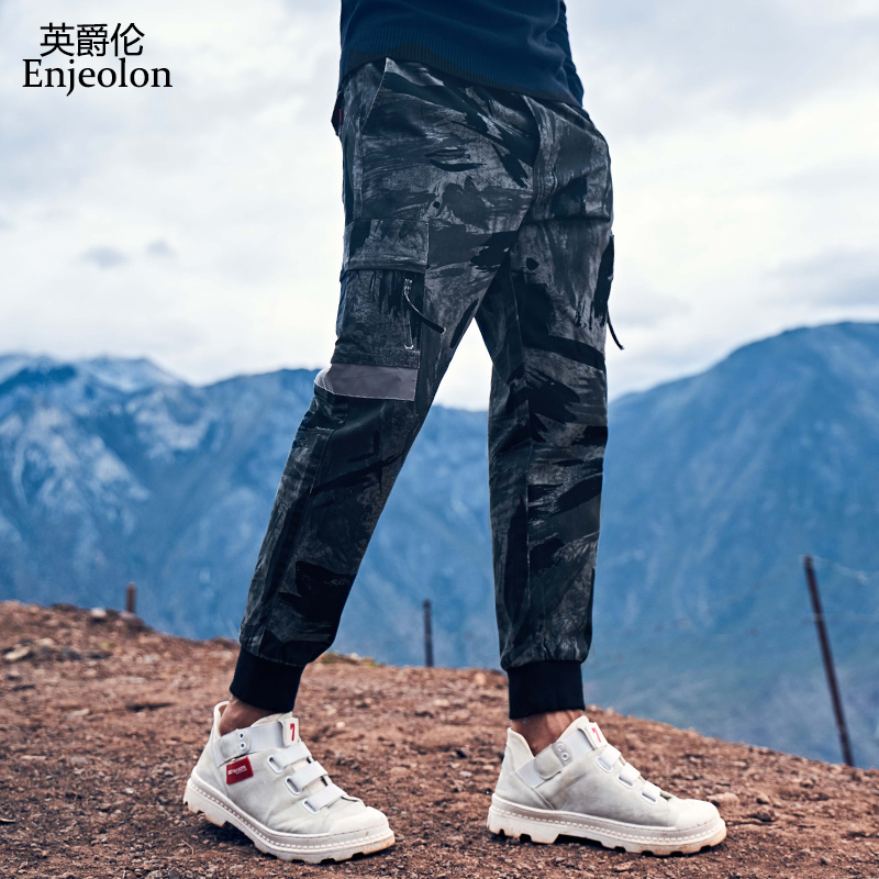 Enjeolon Mens Joggers Pants Camo Cargo Pants Men Jogger Harem Pants Camouflage Streetwear Pockets Trousers Men Plus Size KZ6390
