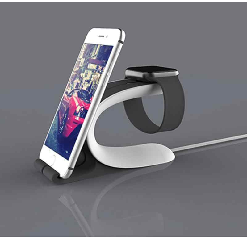 2 In 1 Multi Pengisian Dock Stand Docking Station Charger Pemegang untuk Apple Watch untuk Iphone Samsung Xiaomi Ponsel tab R20