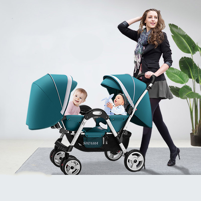 Twin Baby Stroller Four-wheel Shock Absorber Baby Can Sit Reclining Multi-range Adjustment Double Stroller Foldable Dolly Carts image