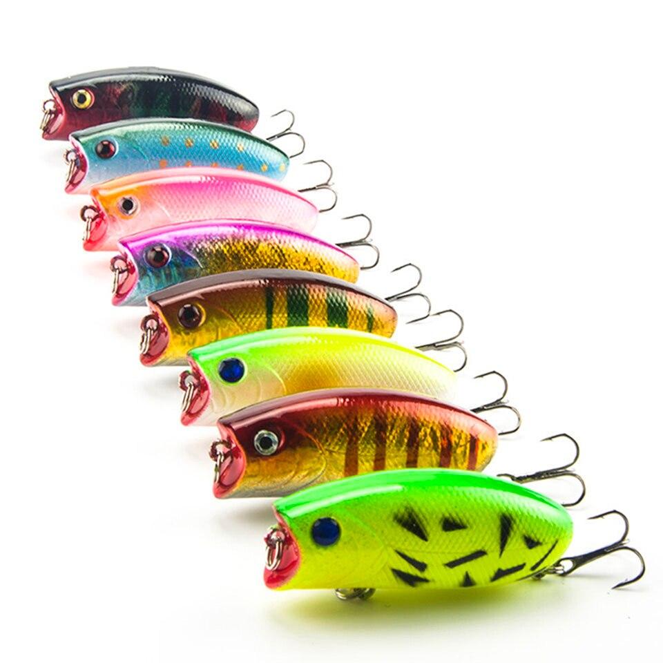 8PCS/Lot 11g 5.5cm Big Popper Fishing Lures 3D Eyes Bait Crankbait Wobblers Tackle Isca Poper Japan HQ007