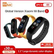 Xiaomi – Bracelet connecté Mi Band 5, Version globale, écran AMOLED 1.1 pouces, moniteur de fréquence cardiaque et d'activité physique, BT 5.0, étanche