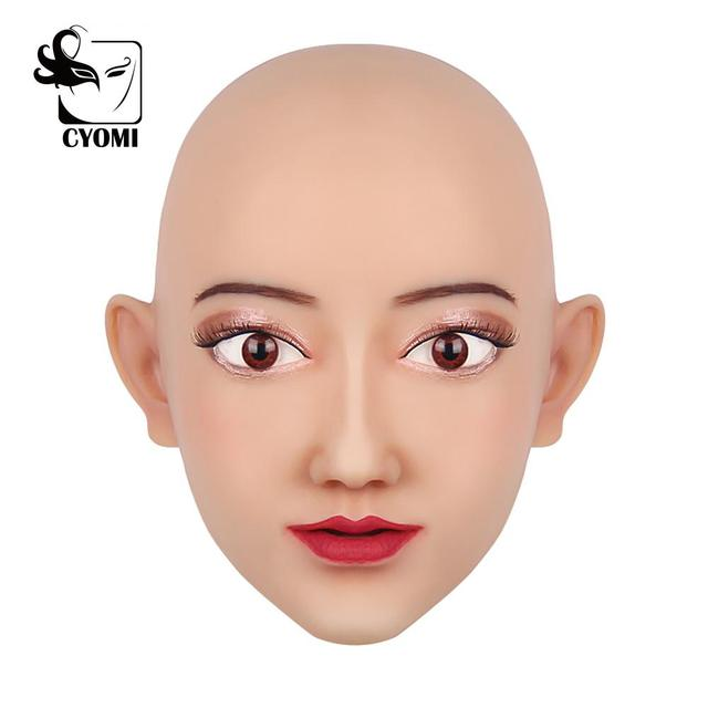 CYOMI Beauty Sivir أنثى اليدوية سيليكون الصف قناع رأس الجمال مصممة لمتحولين جنسيا للرقص حفلة تنكرية