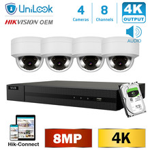 UniLook H.265 8CH 8MP H.265+ 4K POE NVR Kit CCTV System IR Outdoor Audio Video 4K Security Systems 2.8mm Wide angle HIK Connect audio system h series h 15spl