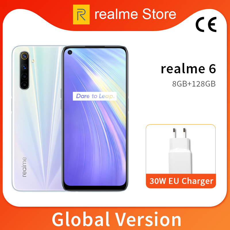 Realme 6 Global Version 8GB 128GB 6.5'' Moblie Phone Helio G90T Octa Core 64MP Quad Camera Cellphone 430mAh 30W EU Charger