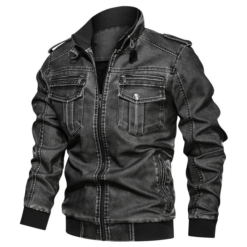 Winter Men's Fashion High Quality Retro Pu Wash Leather Jacket Motorcycle Multi-pocket Plus-size Fleece Warm Leather Jacket