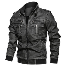 Winter Men's Fashion High Quality Retro Pu Wash Leather Jacket Motorcycle Multi-pocket Plus-size Fleece Warm Leather Jacket