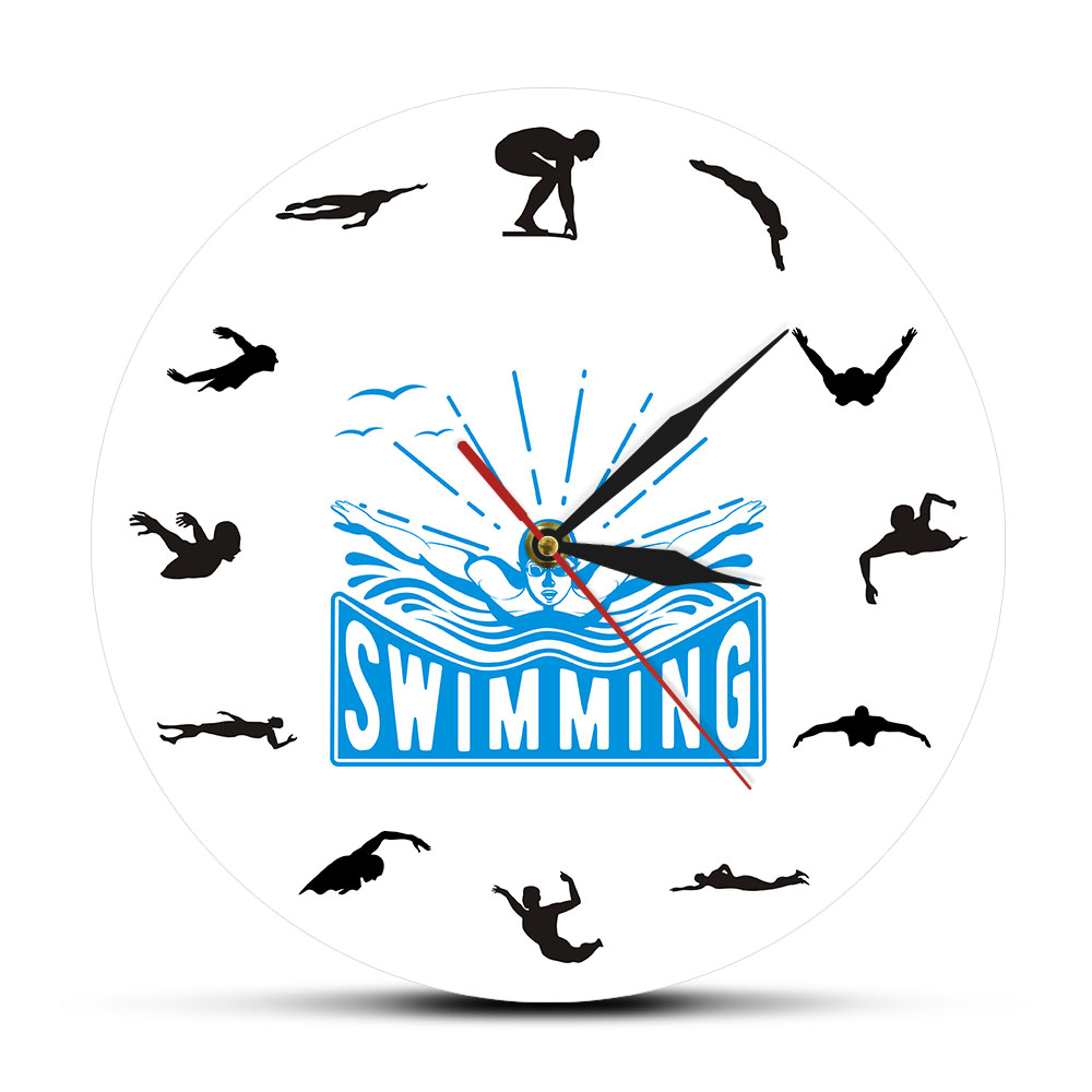 Sport Art Design Swimming Wall Clock Voyage Floating Underwater Diving Swimmer Home Decor Living Room Wall Clock Swim Coach Gift