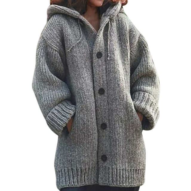 New Winter Women Hooded Knitted Cardigan Button Outwear Ladies Solid Color Slim Up Long Sleeve Autumn Fashion Coats Ropa Mujer