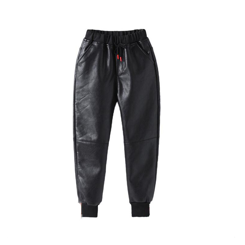 Children's winter trousers casual style Pu leather pants warm boys pants for 12Y black thick unisex mid kids trousers promotion 3