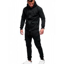 Vogue Autumn 2Pcs Men Sets Fashion Solid Mens Sweatshirt+Pants Tracksuits Two Piece Sets Pockets Drawstring Sportwear Clothes(China)