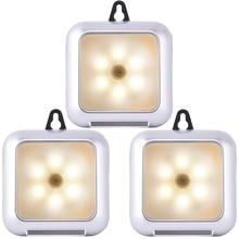 Square Light with hook Ultra Slim Portable Wall lamp 3 Pack PIR Motion Sensor LED Cabinet Night D25