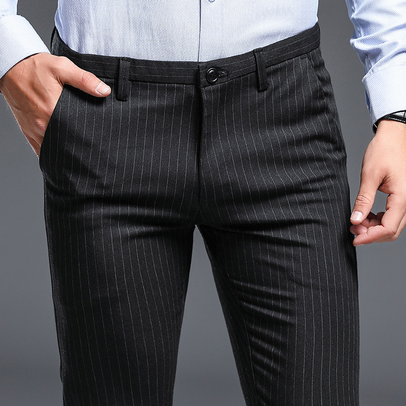 ICPANS Summer Dress Trousers Office Striped Thin Slim Fit Stretch Mens Bussiness Pants Black Gray 2020