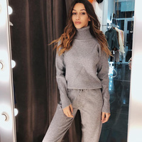 Autumn Winter Knitted Tracksuit Turtleneck Women Knitted Sets Two Piece Set Top and Pants Women 2 Piece Set Casual Suit Outfits