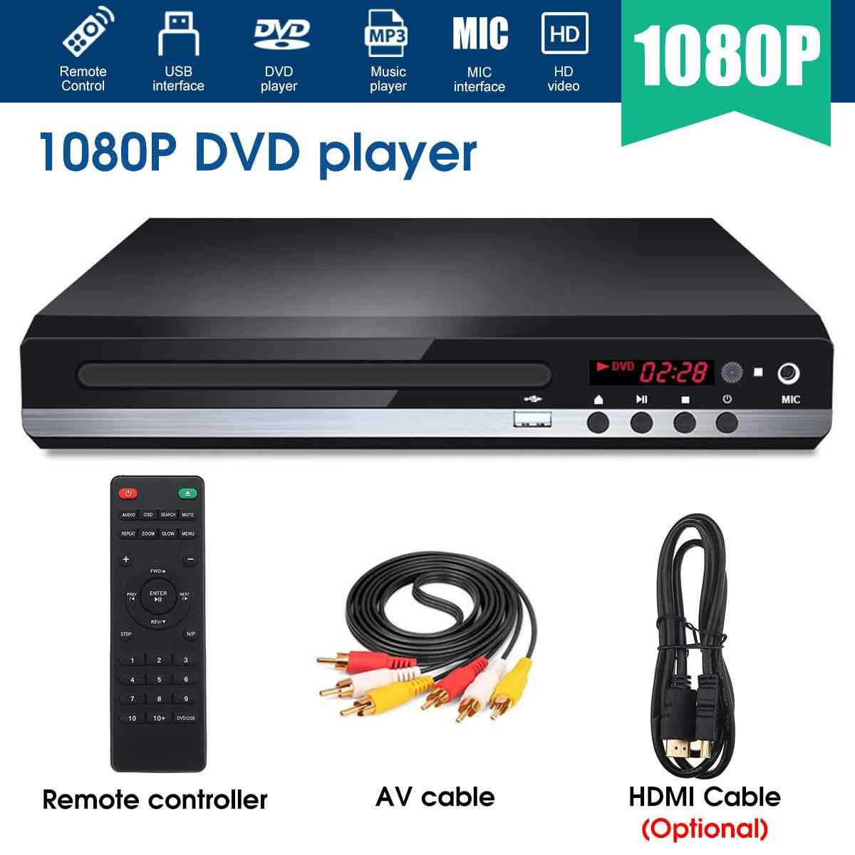 Multi Systeem 1080P Full Hd Dvd Speler Usb Dvd-speler Multimedia Digitale Dvd Tv Disc Player Ondersteuning Hdmi Cd rw Svcd Vcd MP3