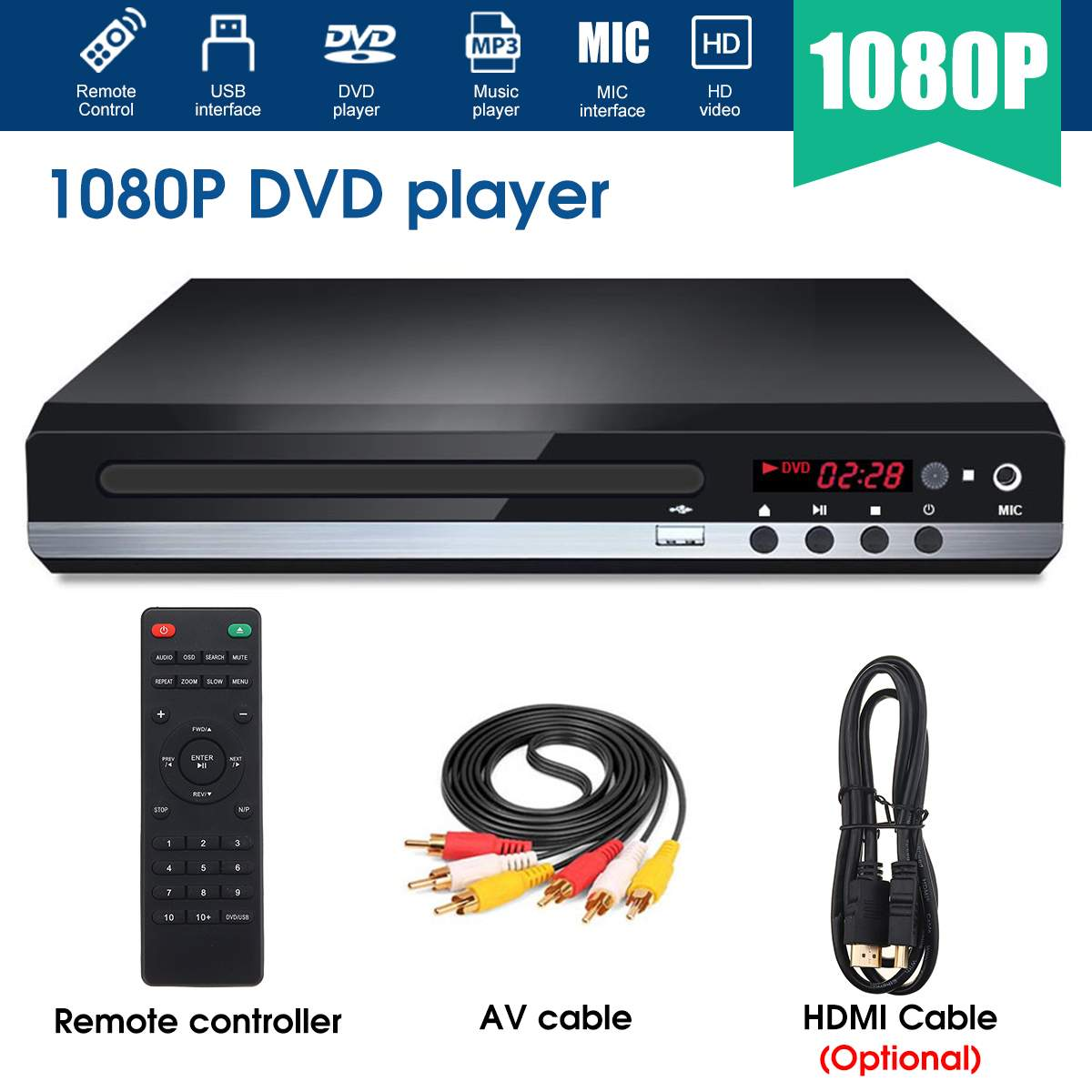 Multi System 1080P Full HD DVD Player USB DVD Player Multimedia Digital DVD TV Disc Player Support HDMI CD RW SVCD VCD MP3