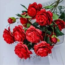 10 букетов пионов 3 головки высокое качество искусственные цветы