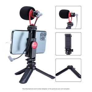 Image 4 - Konfiguracja Vlog kompaktowy mikrofon aparatu W uchwycie telefonu uchwyt wideo Rig Smartphone Mic dla iPhone 11 Huawei Canon Nikon DSLR aparaty