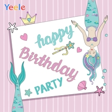 Yeele Birthday Party Photocall Sea Stars Mermaid Photography Backdrops Personalized Photographic Background For Photo Studio