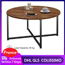 Tea Table End Table For Office Coffee Table Wooden Round Magazine Shelf Small Sofa Side Table Movable Living Room Furniture HWC
