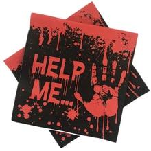 Omilut 20pcs Halloween Decoration Paper Napkins Blood handprint Disposable Pumpkin Skull Printing