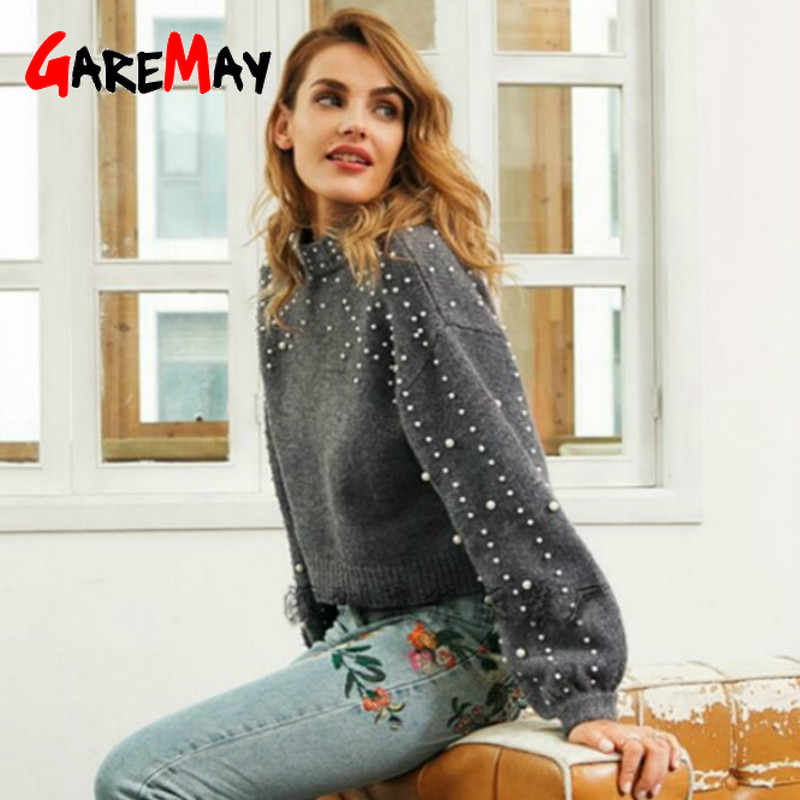 2019 winter warm Pearls beads sweaters women's lantern sleeve knitted turtleneck Loose pullover female grey sweaters for women