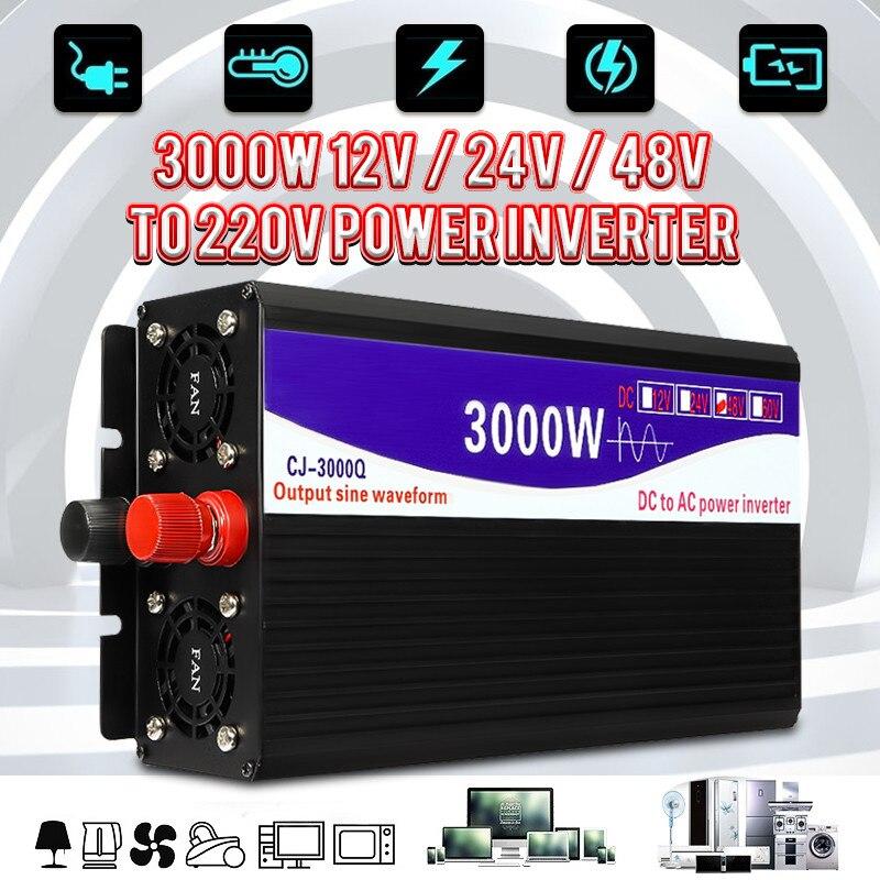 Черный инвертор 3000 Вт чистый синусоидальный инвертор светодиодный цифровой дисплей 12 В/24 В до 220 В 50 Гц трансформатор источник питания