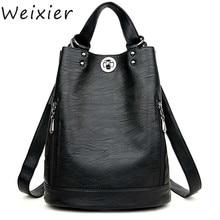 WEIXIER Women Backpack Female PU Leather Women's Bucket Backpacks Bag Travel Bags Back Pack Multi-purpose Shoulder Bags V3-16