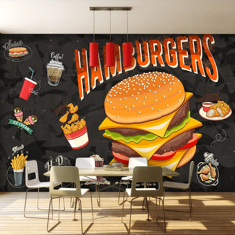 Custom Any Size Mural Wallpaper 3D Stereo Hamburger Fried Chicken Fast Food Restaurant Background Wall Painting Creative Fresco image