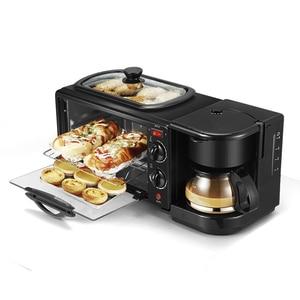3 в 1 домашняя машина для завтрака, Кофеварка, сковорода, тостер для хлеба, электрическая печь, машина для выпечки хлеба