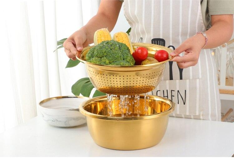 cozinha redonda utensílio arroz bacia lavagem do agregado familiar