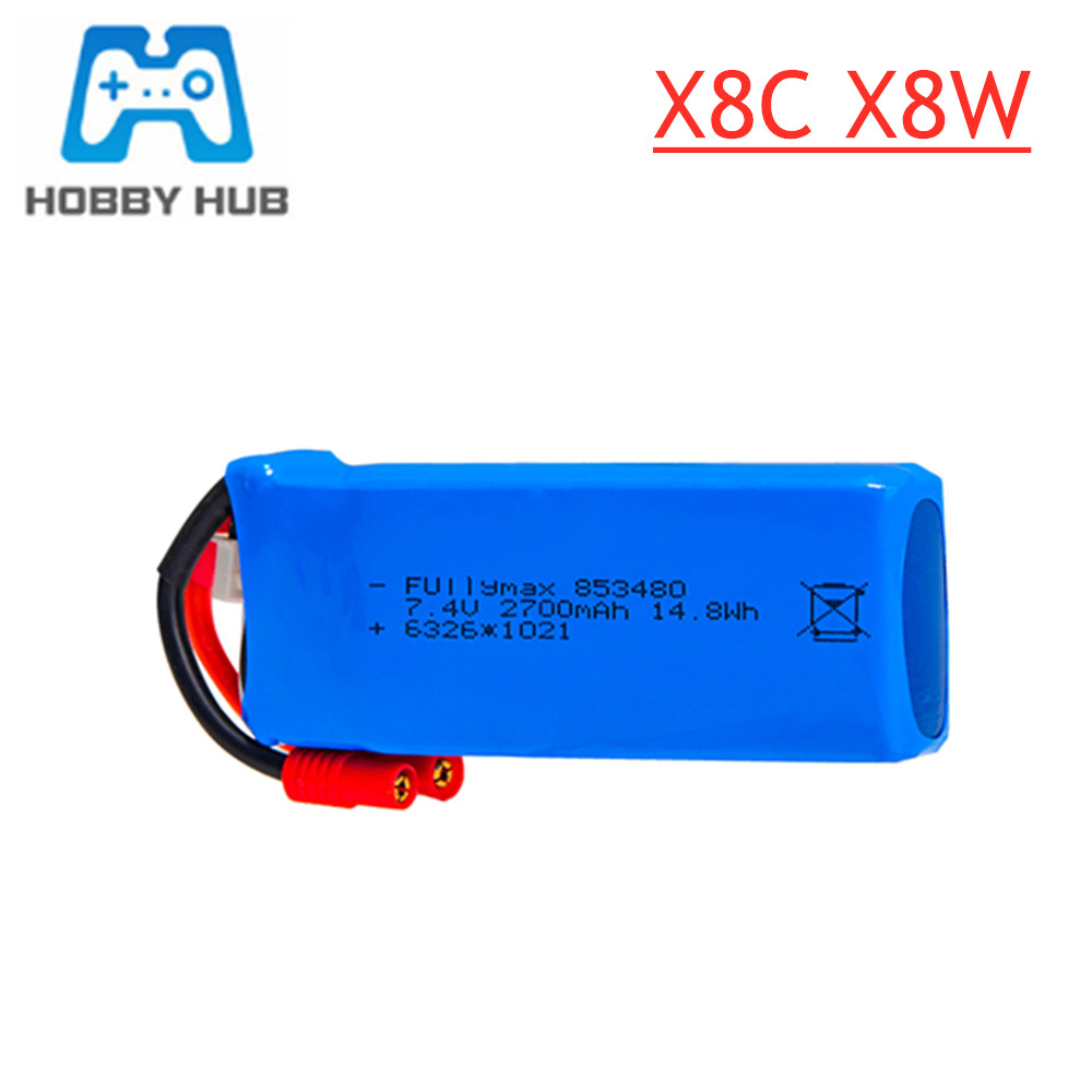 Upgraded 7.4V 2700mAh 25C Lipo Battery For Syma X8W X8c X8G X8HC X8HW X8HG HQ899 RC Quadcopter Spare Parts 2s 7.4V Battery 1pcs