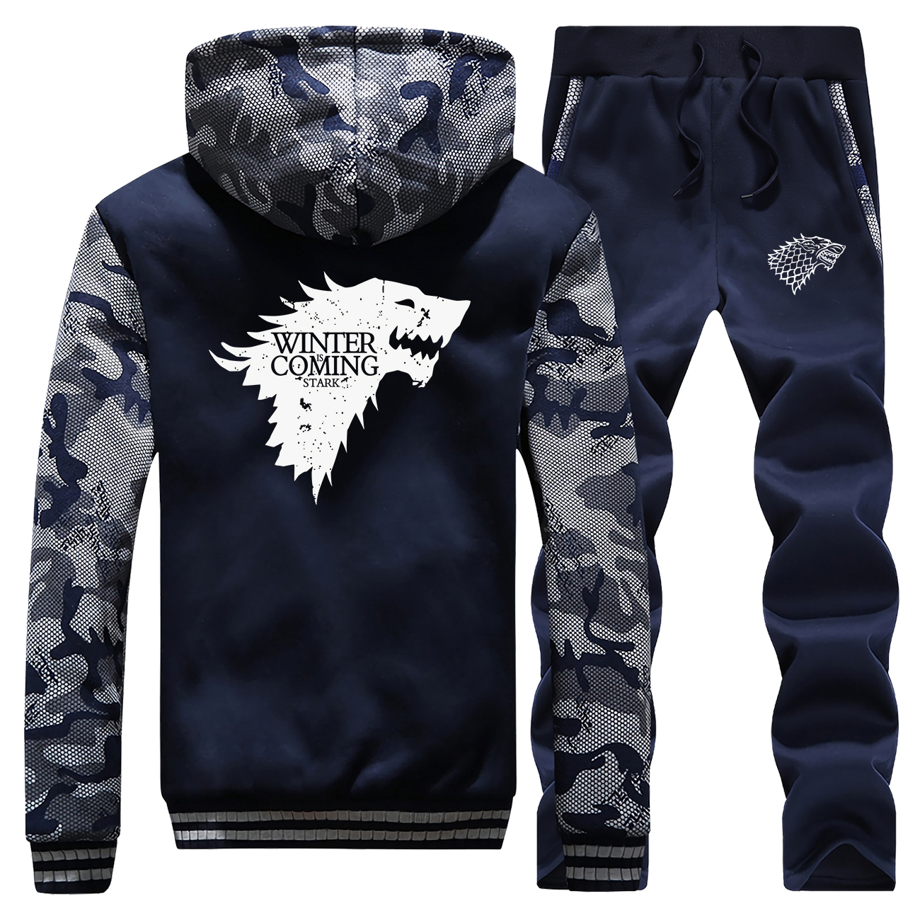 Winter Is Coming Hoodie Sweatshirts Sets Men Jacket+Pants 2 Piece Set Mens Camouflage Hoodies Trousers Suit Coat Wolf Tracksuit