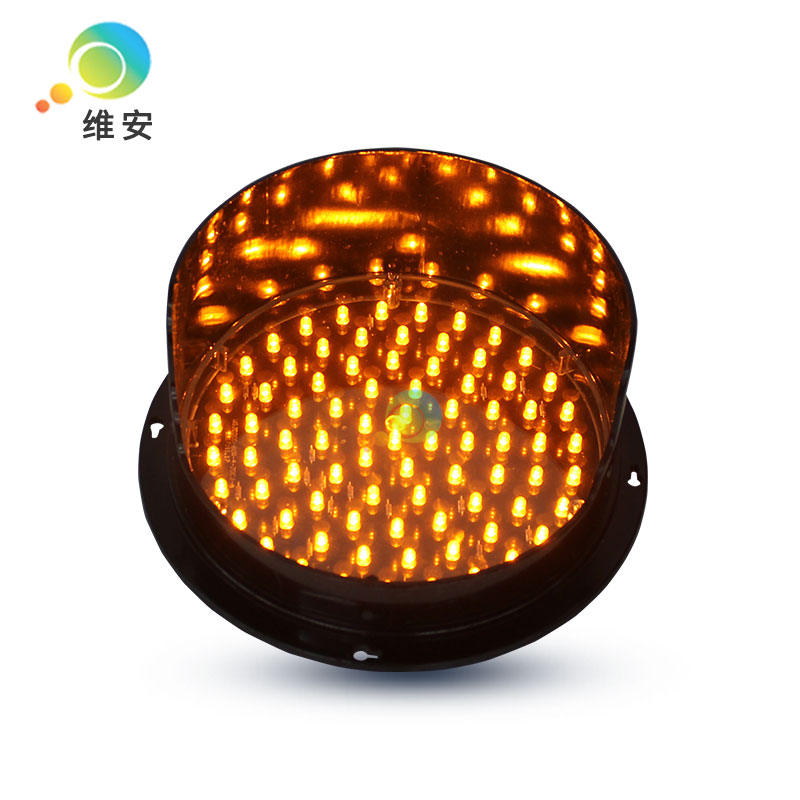 DC12V Or DC24V Customized 200mm Yellow LED Traffic Light Module With Visor Traffic Light Replacement