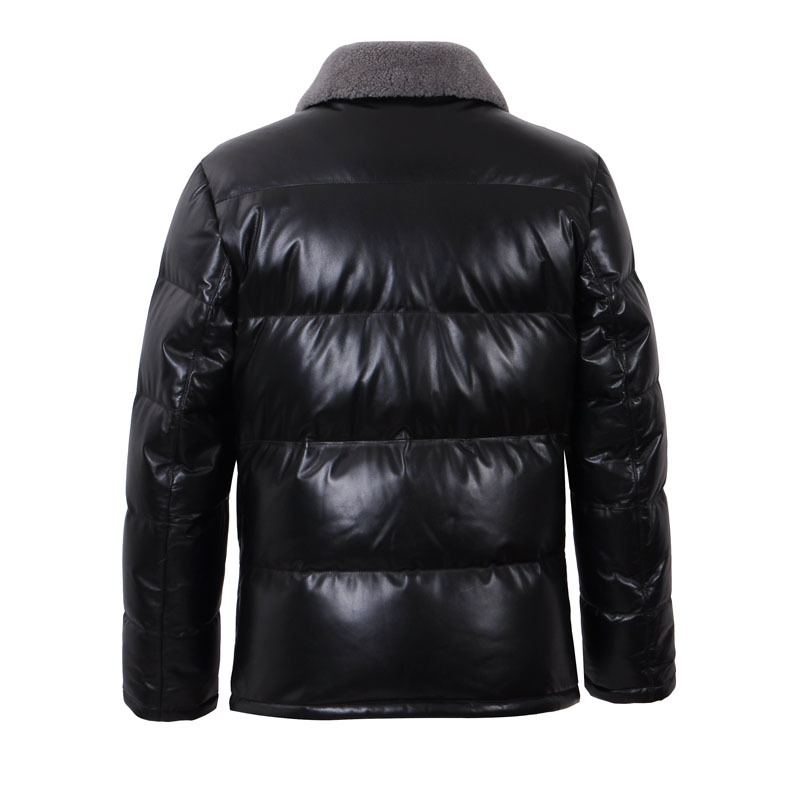 Genuine Leather Jacket Men Real Sheepskin Leather Coat With Wool Fur Collar Winter Warm Thick 13-H04B# MF405