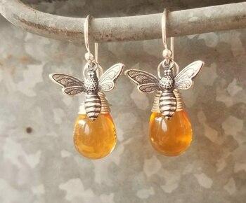 Silver Honey Bee Earrings. Honey Bee Jewelry. Wire Wrapped Drops Honey Amber Earrings недорого