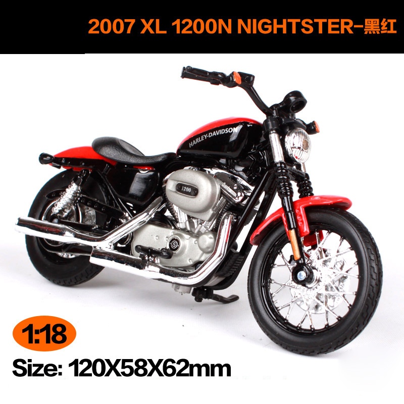 Maisto 1:18 Harley Davidson 2007XL 1200N Nightster Motorcycle Metal Model Toys For Children Birthday Gift Toys Collection