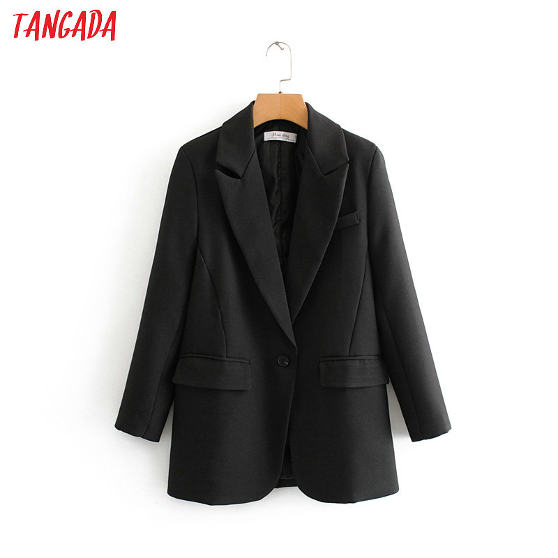 Tangada Fashion Women Black Suit Blazer Long Sleeve Pocket Office Lady Business Coat Female Retro Tops DA45