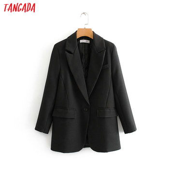 Tangada fashion women black suit blazer long sleeve pocket office lady business coat female retro tops DA45