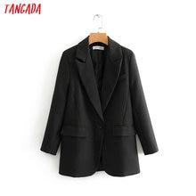 Tangada fashion women black suit blazer long sleeve pocket office lady business