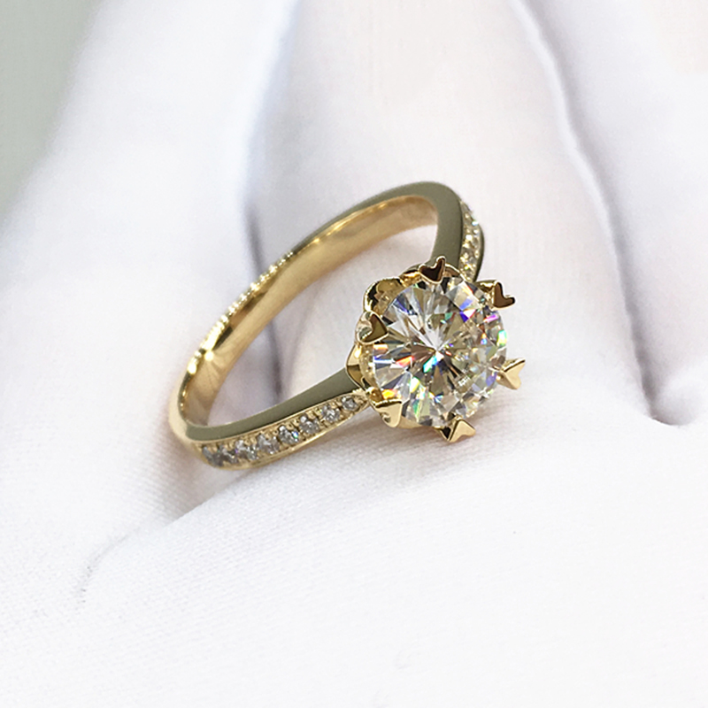14k Yellow Gold Ring Round Brilliant