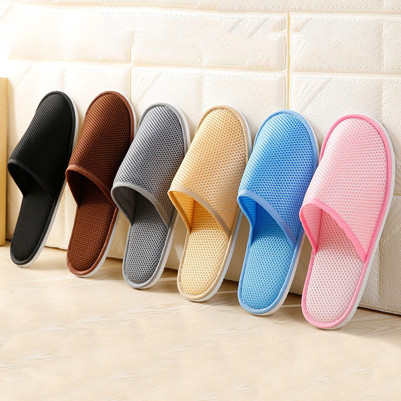 Classic Home Hotel Disposable Slippers Indoor Home Mesh Cloth Slipper Solid Color Women Men Slippers Home Travel Portable Shoe